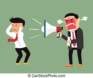 Angry boss shouting at employee on megaphone vector illustration.