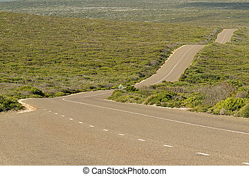 Boxer Drive, windy wavy roadway on Kangaroo Island, South...