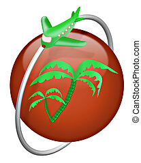 vacation tropical island travel tourism airoplane button...