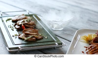 Meat dishes with spices.