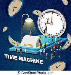 time machine concept - flat 3d isometric design - time...