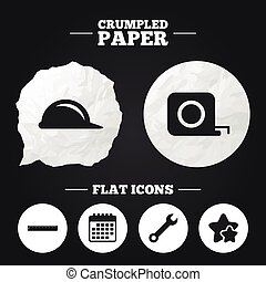 Construction helmet and ruler, roulette icons - Crumpled...