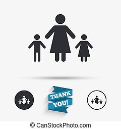 One-parent family with two children sign icon Mother with...