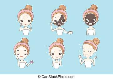 cartoon girl with facial mask