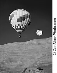 Hot Air Balloon - Hot air ballooning in New Mexico in black...