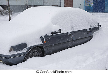 Car under snowdrift Winter problem scene