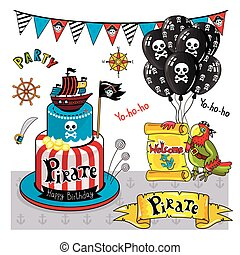 Pirate party elements vector on white background - Pirate...