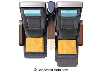 Aircraft chairs with towels, top view
