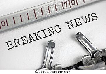 Typewriter detailed macro closeup typing text Breaking News,...