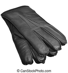 Black Men Deerskin Gloves, Large Detailed Isolated Mens Fine...