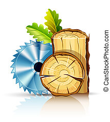 woodworking industry wood with circular saw illustration...