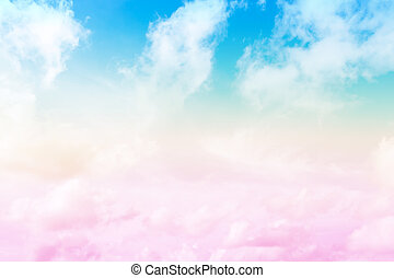 Blue sky and cloud made pastel filter style for background