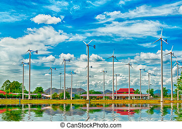 Wind Turbind and Solar cell mad with HDR effect for...