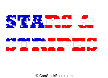 American flag in stars and stripes text