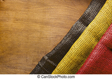 State flag of Belgium from a dense fabric.