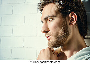 melancholy - Beauty portrait of a handsome pensive young man...