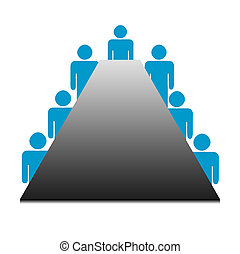 Business boardroom meeting - Illustration of business people...