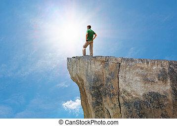 Man on the mountain edge.