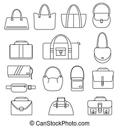Bag, purse, handbag and suitcase simple icons set. Accessory...