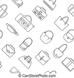 Bag, purse, handbag and suitcase simple icons seamless...