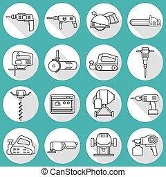 Set of flat repair tool icons.