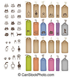 Product tags in various shapes and color with cat...