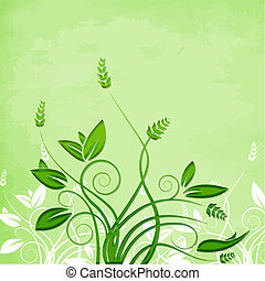 green foliage vector isolated on textured background