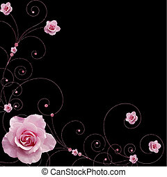 roses and swirls vector
