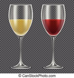 Realistic vector wineglasses with red and white wine