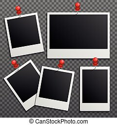 Photo polaroid frames on wall attached with pins. Vector set