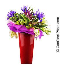 buquet, de, tulips, íris, Veronica, e, outro,...