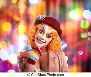 Party clown - Smiling clown with hat and background with...
