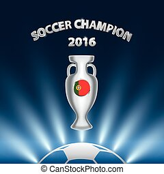 Soccer Champion 2016 with trophy and Portugal flag..