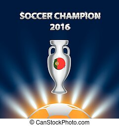 Soccer Champion 2016 with trophy and Portugal flag.