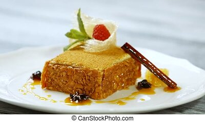 Cake on white plate.
