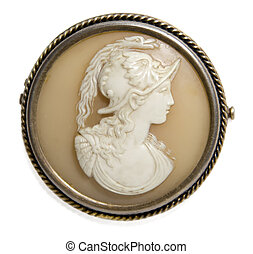 Antique cameo with mans face - antique victorian brooch -...