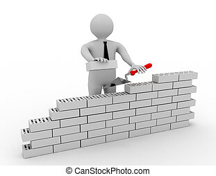 3D man constructing a red brick wall