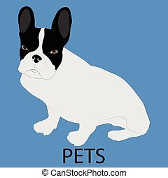 Pet dog icon flat style Cute dog, patting dog, animal pet,...