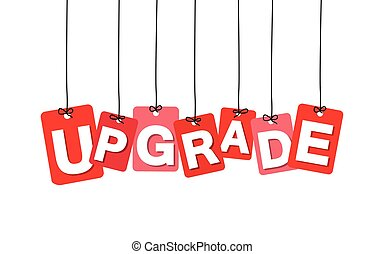 Vector colorful hanging cardboard Tags - upgrade on white...
