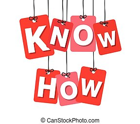 Vector colorful hanging cardboard. Tags - know how on white...