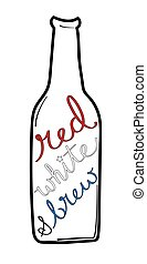Red White and Brew Beer Bottle