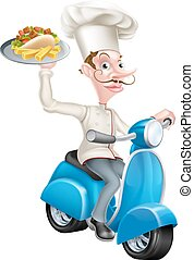 Cartoon Chef on Scooter Moped Holding Kebab - An...
