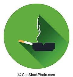 Cigarette in an ashtray icon. Flat color design. Vector...