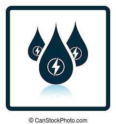 Hydro energy drops icon. Shadow reflection design. Vector...