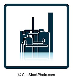 Chemical plant icon Shadow reflection design Vector...