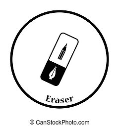Eraser icon Thin circle design Vector illustration