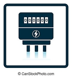 Electric meter icon Shadow reflection design Vector...