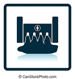 Hydro power station icon Shadow reflection design Vector...