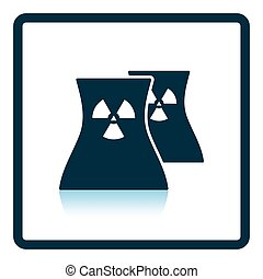 Nuclear station icon. Shadow reflection design. Vector...