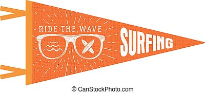 Surfing pennant. Summer Pennant flag design. Vintage surf emblem with glasses, longboard, sunburst. Ride the wave pennant. Summer symbols isolated. Retro surfboard icon, label design